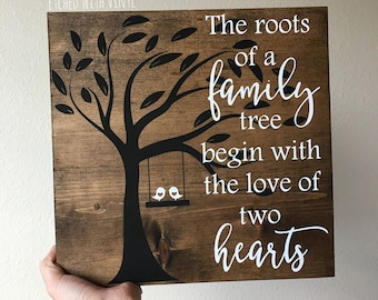 12 x 12 wood sign - family tree wood sign - painted sign - heart sign - wooden sign - wall decor - farmhouse decor - rustic decor