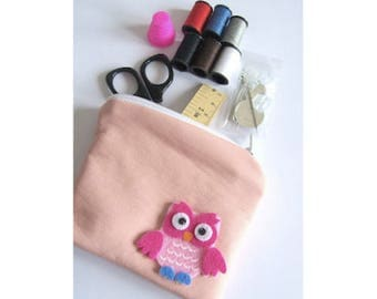 sewing kit with pink faux leather coin purse sewing pouch small sewing kit