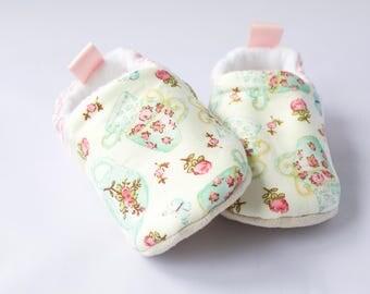 Dotty's Tea Party  little girls shoes, soft sole moccs