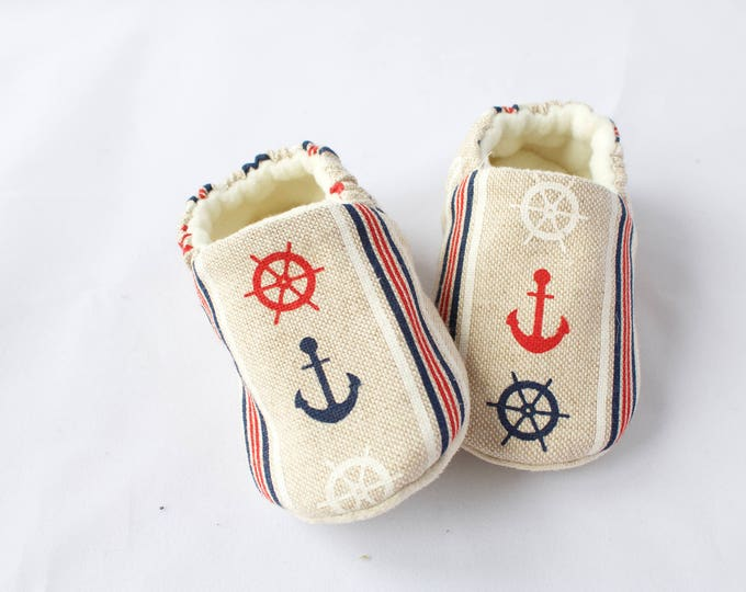 linen look cotton nautical moccs