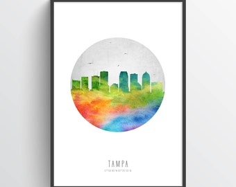 Tampa Skyline Poster, Tampa Citycape, Tampa Art, Tampa Decor, Home Decor, Gift Idea, USFLTA20P