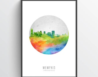 Memphis Tennessee Skyline Poster, Memphis Citscape, Memphis Art, Memphis Decor, Home Decor, Gift Idea, USTNME20P