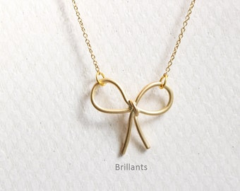 Bow necklace in gold, Tie necklace, Love tie, Bridesmaid necklace, Everyday necklace, Wedding necklace