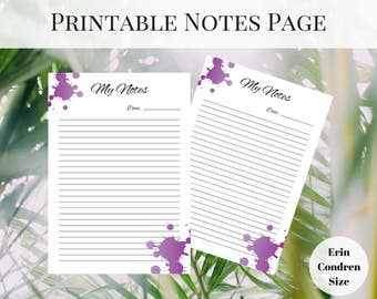 Erin Condren Inserts, Printable Notes Page, Printable Planner Pages, Planner Notes Page, Printable Inserts, Notes Printable, Happy Planner