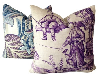 Schumacher Pillow Shengyou Toile Iris w/Linen on Reverse Decorative Pillow Cover 18x18, 20x20, 22x22, 24x24 Schumacher purple toile pillow