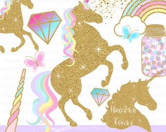 Magical Unicorns / Gold Glitter Unicorns / Einhorn / Unicorn Clip Art - Instant Download - CA126