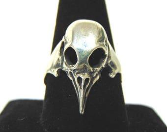 Vintage Estate Sterling Silver Gothic Skull Ring 6.5g E3138