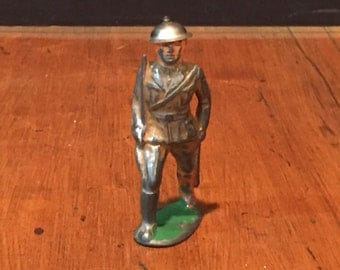 Antique Vintage BARCLAY Lead Toy Soldier Officer Marching with Sword Tin Helmet