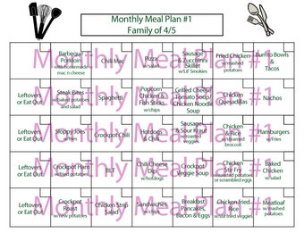 Monthly Family Meal Plan #1--Menu Planning--5 weeks of recipes planned out--Instant Download