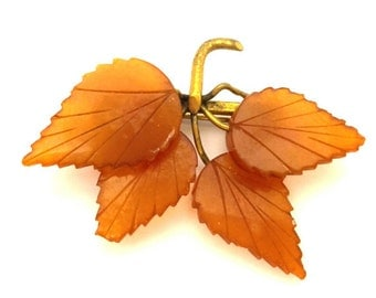 Amber Baltic Brooch Genuine Vintage 4.53 Gr Leafs Cognac Caramel Color