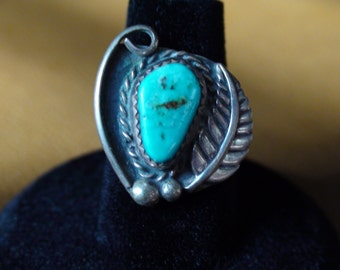 Native Navajo Sterling Silver Turquoise Ring Size 5.75 Signed