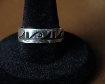 Native American Hopi Sterling Silver Engraved Ring Size 8.5 Guy Josytewa