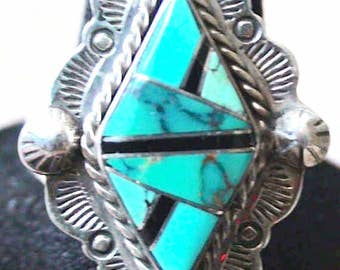 Native American Navajo Sterling Silver Turquoise Onyx Ring Size 10