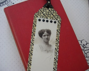 Hand Crafted Bookmark from Original 19th Century Bookmark-Cut Studio Portrait Photo of Young Woman, Embellished, Made by Me