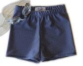 Swim Trunks - Navy Gingham - Euro Style Swim Trunks - Jammers - Boy's Swimsuits - Boy's Trunks