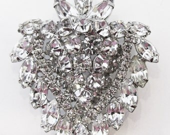 Magnificent Vintage 1950s Signed Weiss Rhodium Plated Rhinestone Pin