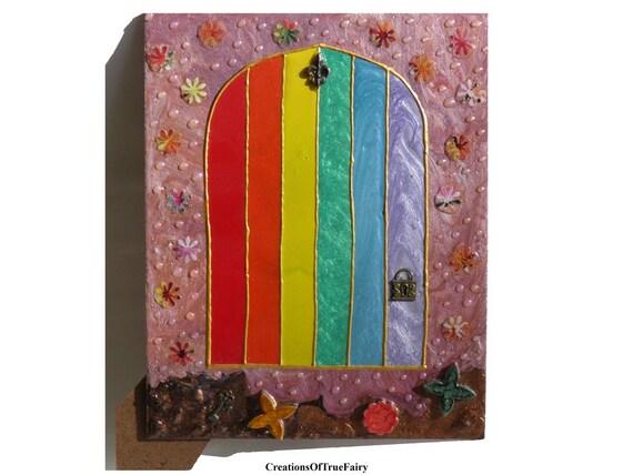 Rainbow fairy door gifts for kids babies fairies miniature for Rainbow fairy door