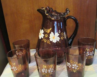 Fenton ? Amethyst ruffled Hand-painted pitcher and 5 glasses