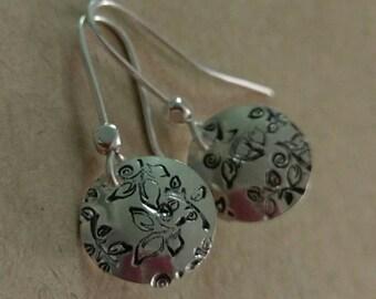 Sterling Silver Leaf Stamped Dangle Earrings