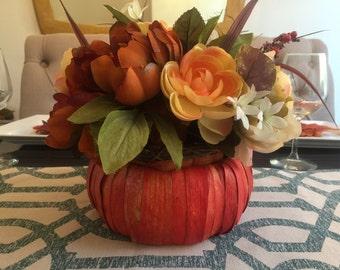 Fall Centerpiece, Thanksgiving Centerpiece, Orange Wooden Pumpkin,  Floral Arrangement