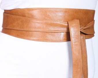 Distressed Tan Brown Leather Obi Belt, Western Belt, Womens Leather Belt,  Bridesmaid Belt, Tan Belt