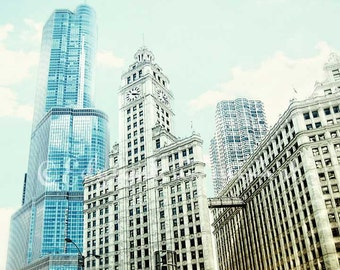 Chicago Photography, travel photography, Chicago Skyline, architectural photography, urban decor, blue, gold, architecture, Chicago photo