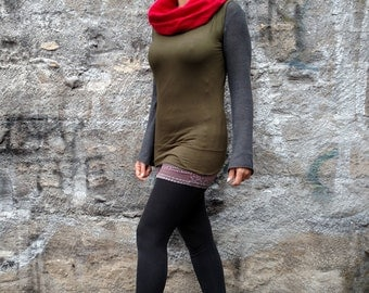Cowl Top 4 Way Viscose Army Green Lycra Sleeveless Flannel Schal Top Cowl Tunic Boho Cowl Top Fall Winter Schal Top Drape Hood Top