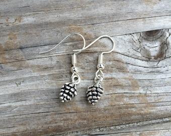 Pinecone Earrings, Charm Earrings, Woodland Earrings, Wilderness Earrings, Gifts for her