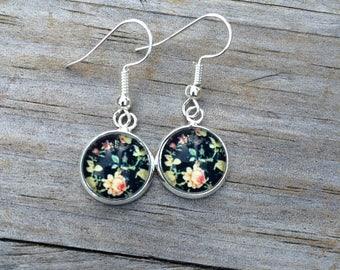 Rose Floral Dangle earrings, Flower earrings, Fishhook earrings, cabochon earrings, 12mm earrings, Gifts for her, Valentines Earrings