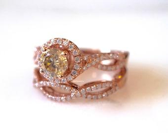 14K Gold Rose Cognac Diamond Bridal Set
