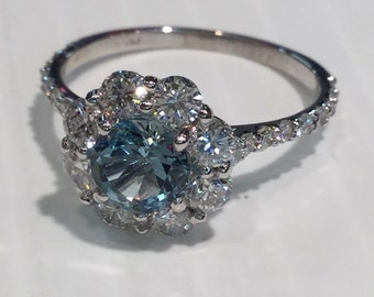 14k White Gold 1cttw Diamond And Aquamarine Ring
