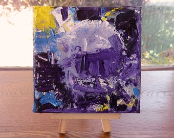 Purple abstract painting, 4x4 mini canvas, original art with optional display easel, purple decor, desk art, unique gift