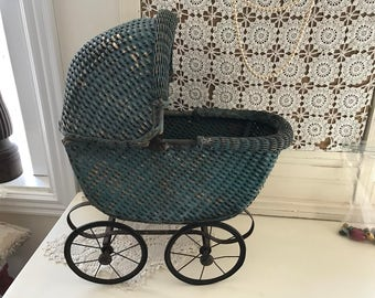 Antique Wicker Teal Blue Toy Baby Carriage Vintage Victorian Doll Stroller