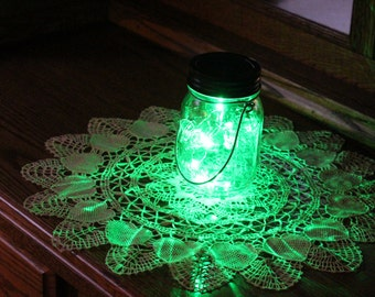 Hanging Mason Jar Solar Lid Light - Green Angel Lights - Firefly Lights - with 1 Clear Mason Jar and Hanger - fairy light, solar mason jar