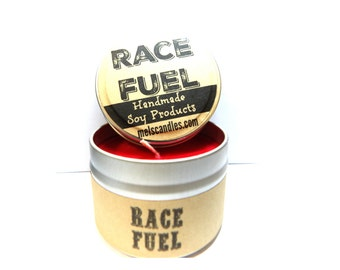 Race Fuel ? (Great for Racers)  4 ounce soy tin candle - take it anywhere!