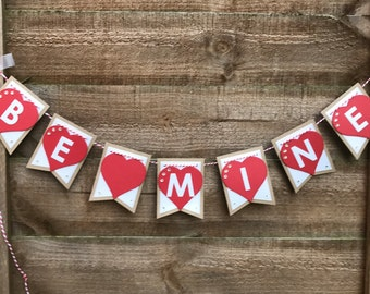 Be Mine Bunting, Valentines Bunting, Valentines Banner, Heart Bunting, Heart Banner, Valentines Decororations, Valentines Day