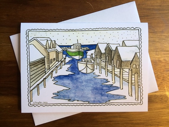 Leland Fishtown Winter Greeting Cards, 5 x 7 inches (A7), blank inside