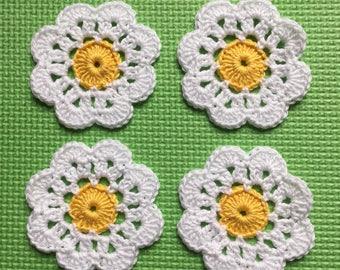 Crochet Daisy Flower Coasters Set of 4