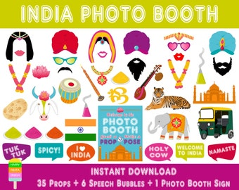 PRINTABLE India Photo Booth Props–Photo Booth Sign-Indian Wedding Props-India Party Props-Bollywood-India Travel Props-Instant Download