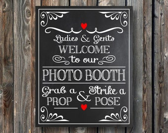 PRINTABLE Wedding Photo Booth Sign-Wedding Chalkboard Sign-Photo Booth Chalkboard Sign–Wedding Photo Booth Sign-Instant Download