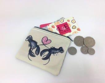 Lobster Love linen coin purse