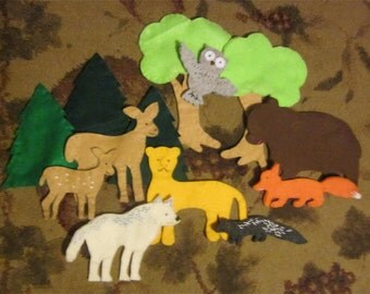 Forest Animals Felt Play Set -- felt animals for imaginative play -- felt toys for children