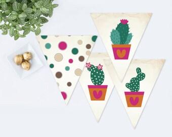 CACTUS PARTY DECORATIONS, diy Printable Banner, Printable Cinco de Mayo, Instant Download, Baby Shower Fiesta Decor, Birthday Party Fiesta