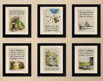 Set of 6 Art Prints on old antique book page - Winnie the Pooh, Vintage Upcycled Wall Art Print, Encyclopaedia Dictionary Page, Fab Gift