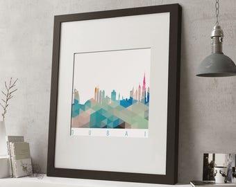 """FRAMED Geometric Dubai Print, 12""""x10"""" Black or White Frame, Modern Art"""