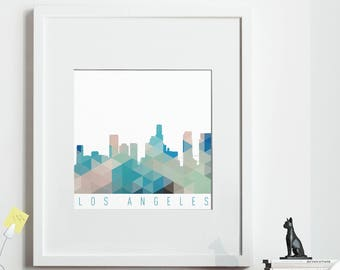 Geometric LOS ANGELES Print, *UNFRAMED* 2 sizes available, Modern Art Print