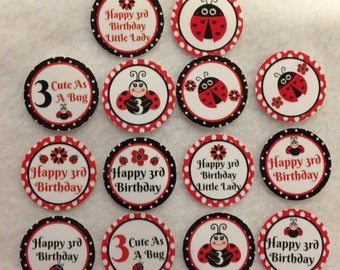 Set of 50/100/150/200 Personalized Ladybug 3rd Birthday Party  1 Inch Confetti Circles