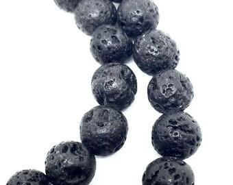 10 lava stone beads, 8.5 mm