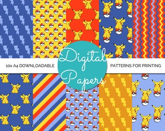 Pikachu Pokemon A4 Digital Paper - Instant Download for Printing and Scrapbooking