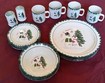 18 Pieces Let It Snow Snowman Dishes Atico International Dinnerware Discontinued 1997